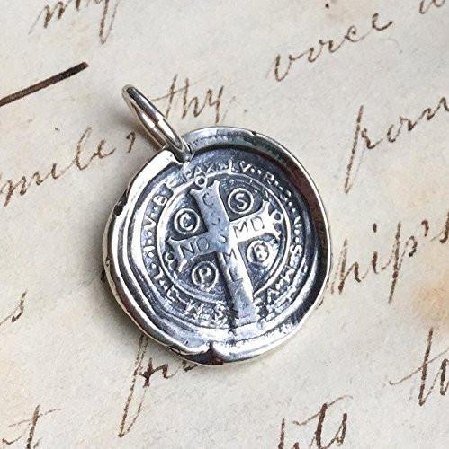 St Benedict Cross Wax Seal Necklace