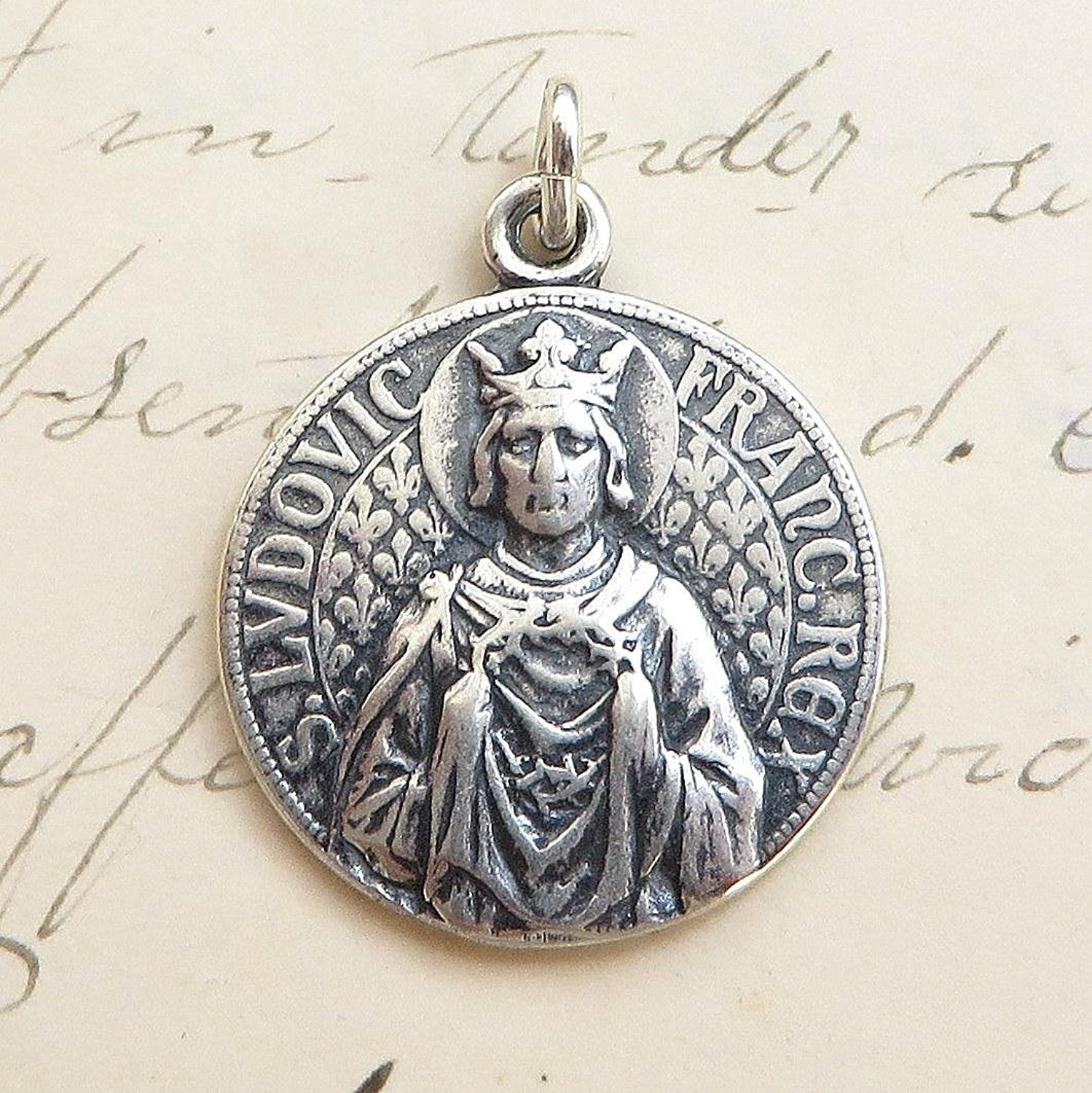 st louis medal patron of parents and difficult marriages sterling silver antique replica. Black Bedroom Furniture Sets. Home Design Ideas