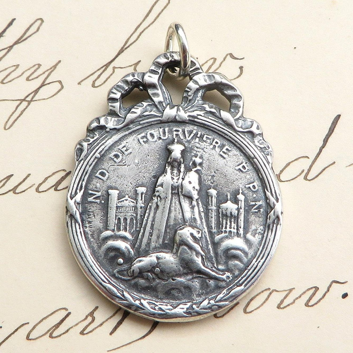 Virgin Mary Rosa Mystica and  Black Madonna Of Fourviere Medal