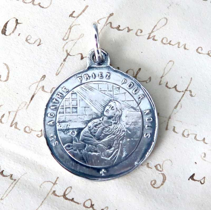 St Agatha Etched Medal Patron Of Nurses And Against
