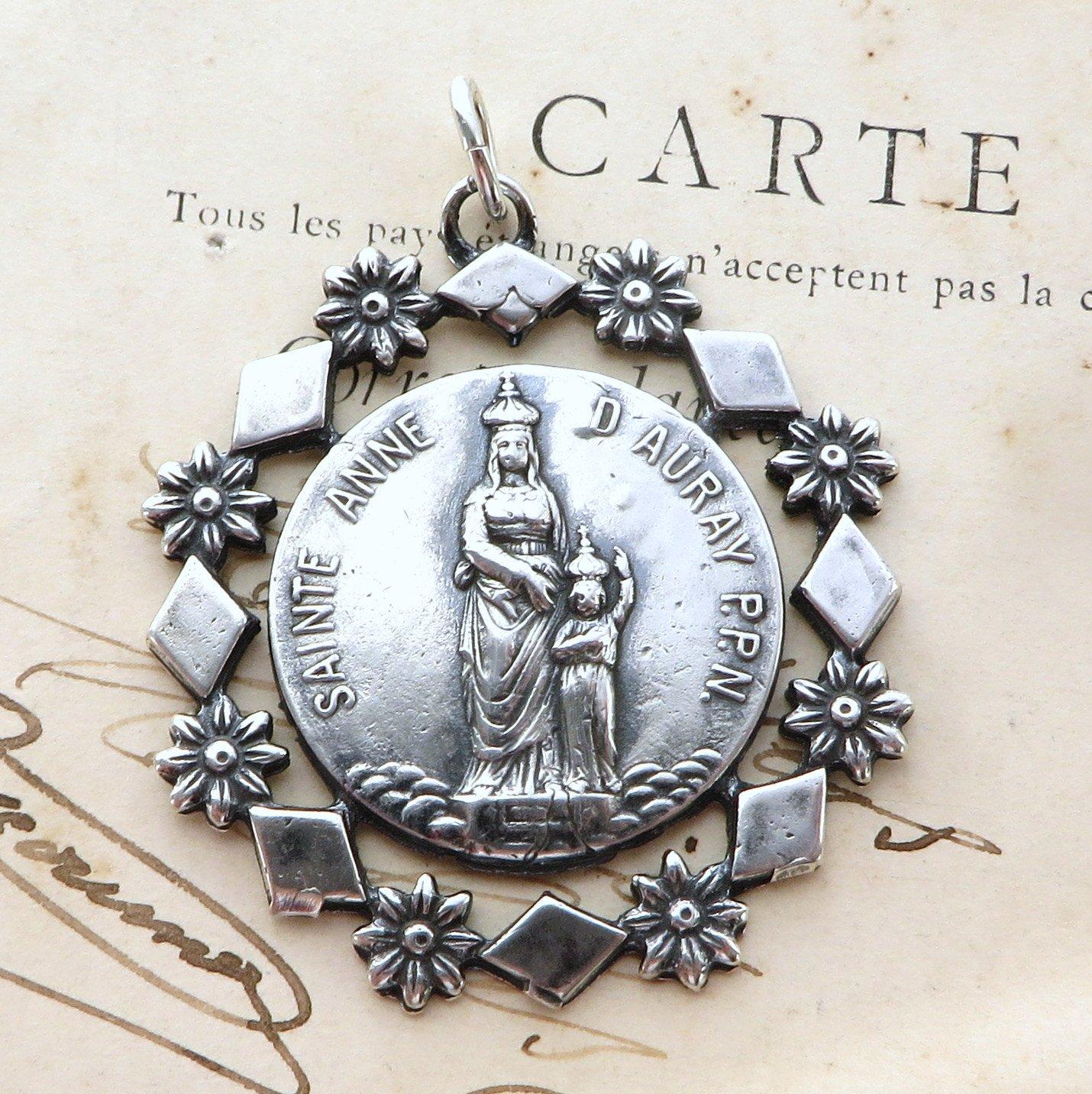 Sterling Silver Antiqued Saint Christopher Medal