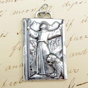 Large Sterling Silver St Bernard Medal