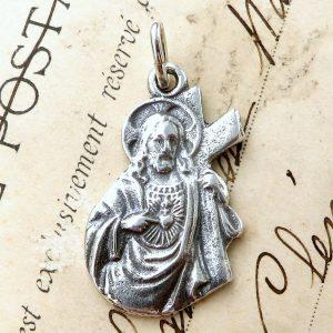 Sterling Silver Figural Sacred Heart Of Jesus Medal