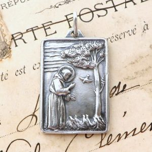 Large Sterling Silver St Francis Of Assisi Feeding The Birds Medal