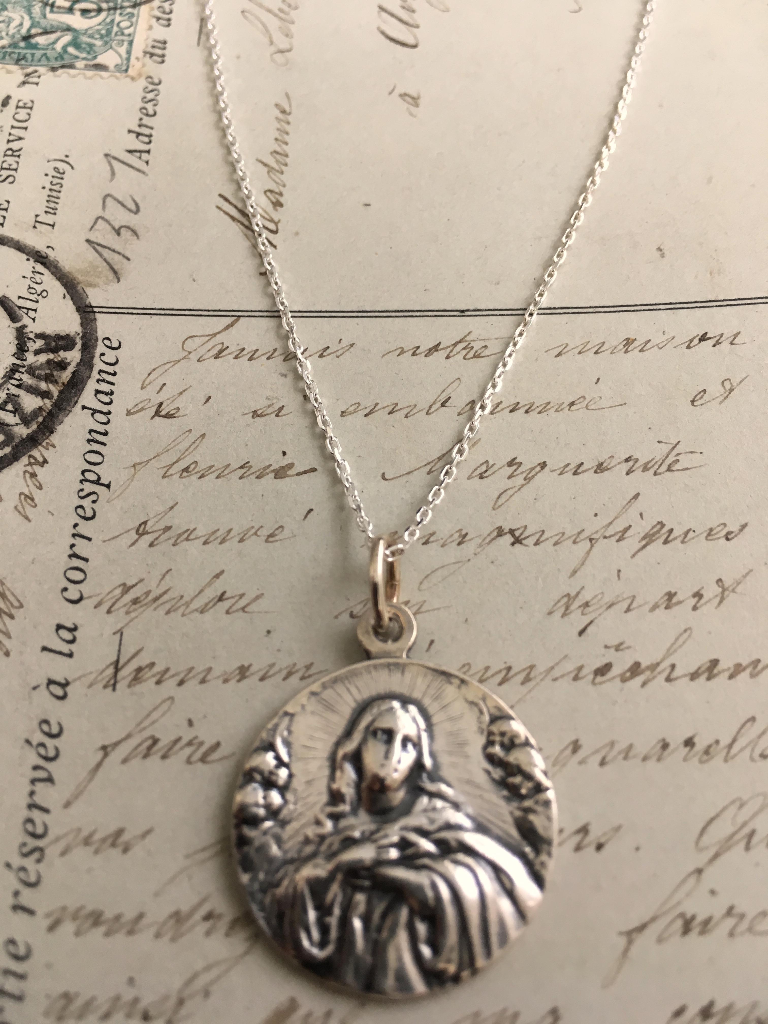 Bonyak Jewelry 18 Inch Rhodium Plated Necklace w// 6mm Jet Birth Month Stone Beads and Saint Philomena Charm