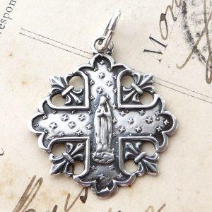 Sterling Silver Marian Fleur-De-Lis Cross