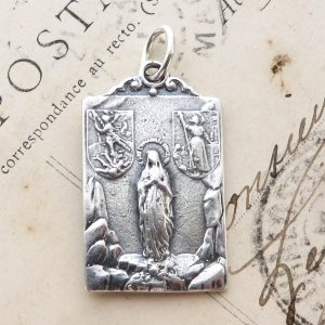 Sterling Silver St Joan Of Arc, St Michael, Virgin Mary, Jesus Multi-Saint Medal