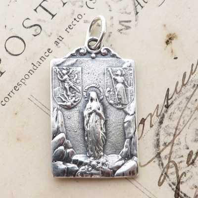Sterling Silver St Joan Of Arc, St Michael, Virgin Mary, Jesus Multi-Saint Medal