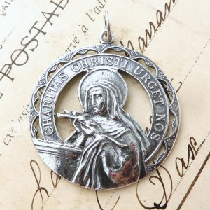 Large Sterling Silver St Rita Medal