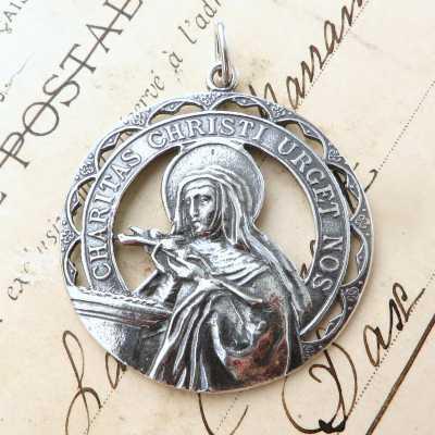 Large Sterling Silver St Rita Medal
