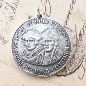Large Sterling Silver St Thomas More And St John Fisher Medal