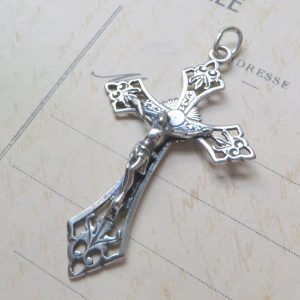 Etched Sterling Silver Crucifix