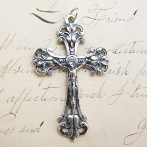 Ornate Sterling Sliver Cross With Crucifix