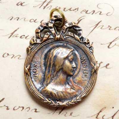 Bronze Virgin Mary Rosa Mystica Medal