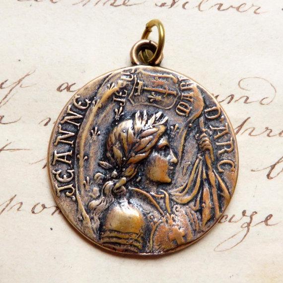 St joan of arc battle flag medal patron of strong women and cool bronze st joan of arc battle flag medal aloadofball Gallery