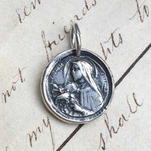 St Therese of Lisieux Wax Seal Medal