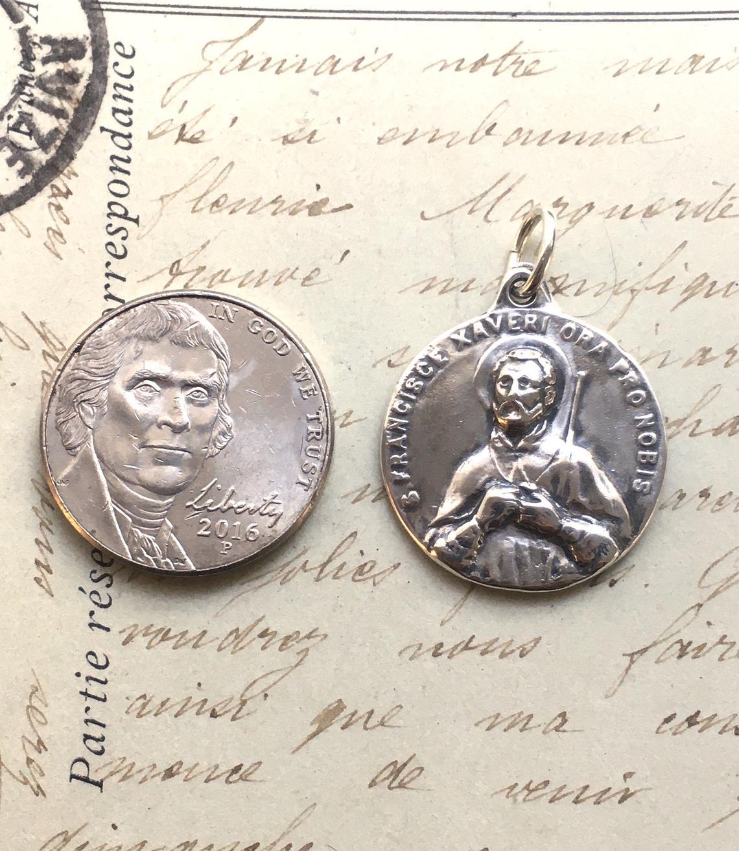 soldiers Sterling Silver Antique Replica parish missions retreats Jesuits St Francis XavierSt Ignatius Medal Patron of missionaries